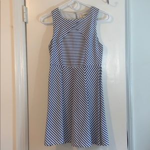 Blue & White Striped A-line Mini Dress